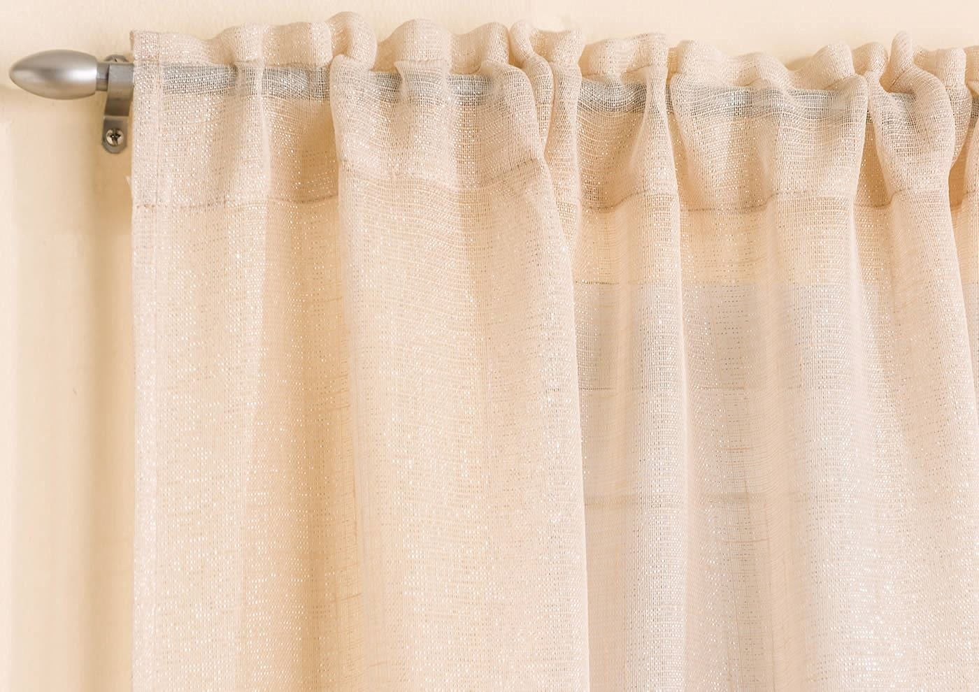 Gorgeous Pale Gold Sparkle Glitter Voile Net Curtain Panel